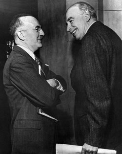 John Maynard Keynes (right) and Harry Dexter White at the Bretton Woods Conference