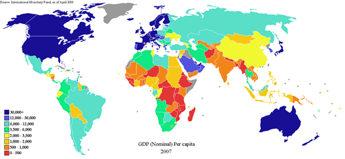 2007 GDP Nominal Per Capita World Map (IMF)
