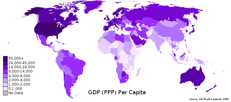 GDP PPP Per Capita Worldmap 2008 CIA Factbook